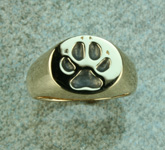 wolf paw print gold ring