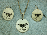 wolf earrings and pendant